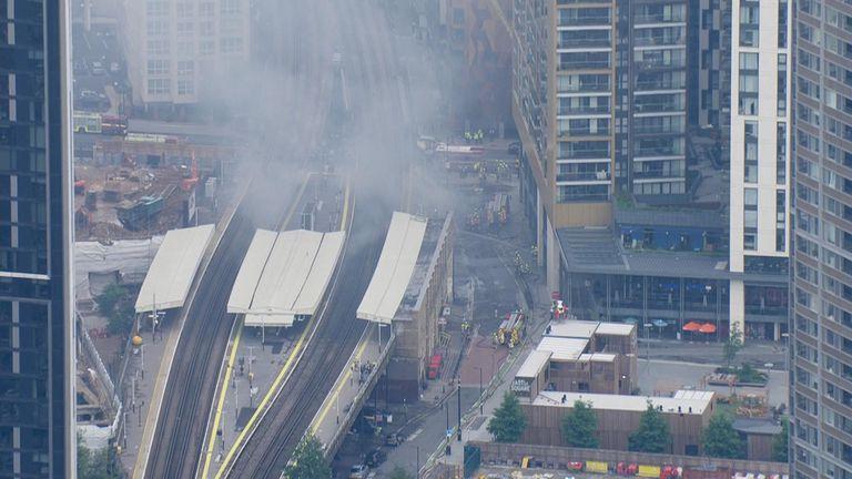 Smoke covers the train tracks
