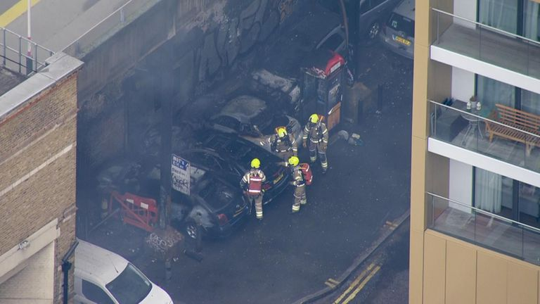 London Fire Brigade says six cars caught light