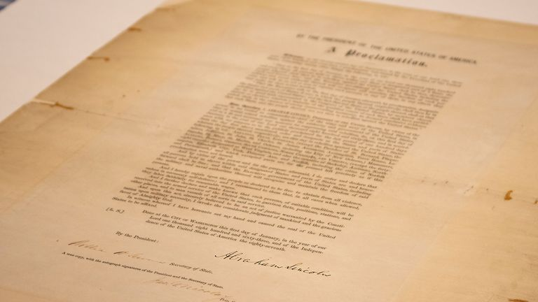 Abraham Lincoln issued the Emancipation Proclamation - saying all slaves should be freed - on 1 January 1863. Pic: AP