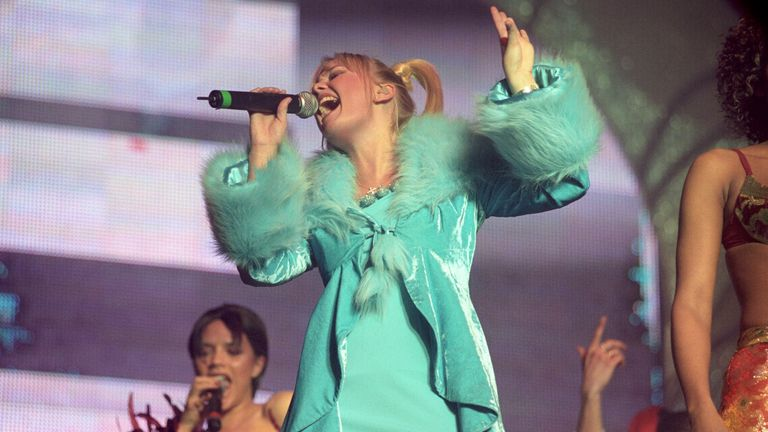 Emma Bunton 'Baby Spice', performing at the Spice Girls first of eight shows at London's Wembley Arena in April 1998