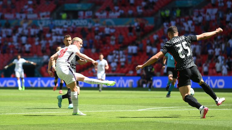 Euro 2020 - Group D - England v Croatia - Wembley Stadium, London, Britain - June 13, 2021 England's Phil Foden shoots at goal and hits the post Pool via REUTERS/Laurence Griffiths