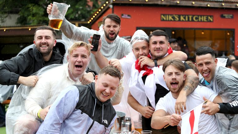 England fans gather to watch the match at  Vinegar Yard pub in London