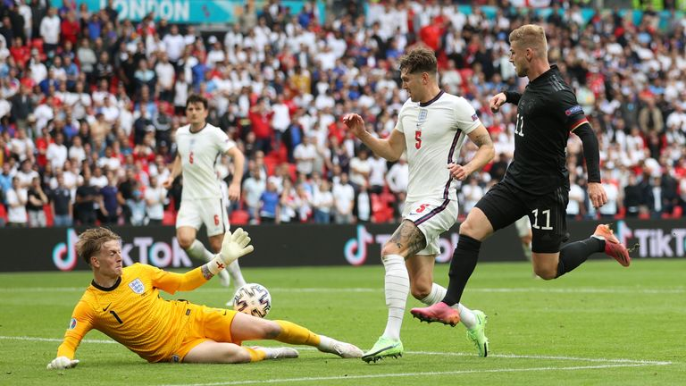 Jordan Pickford made a big save in the first half to help England keep their fourth clean sheet at Euro 2020