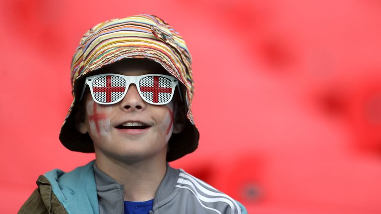 Euro 2020 - Group D - Czech Republic v England - Wembley Stadium, London, Britain - June 22, 2021 England fan in the stands before the match Pool via REUTERS/Carl Recine