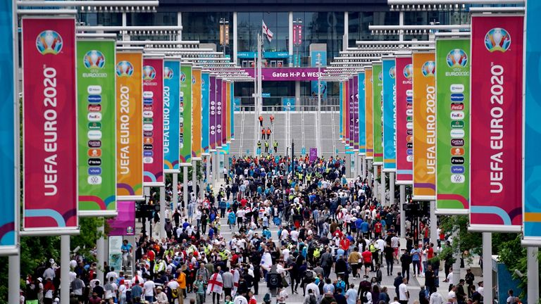 Thousands of fans are arriving at Wembley