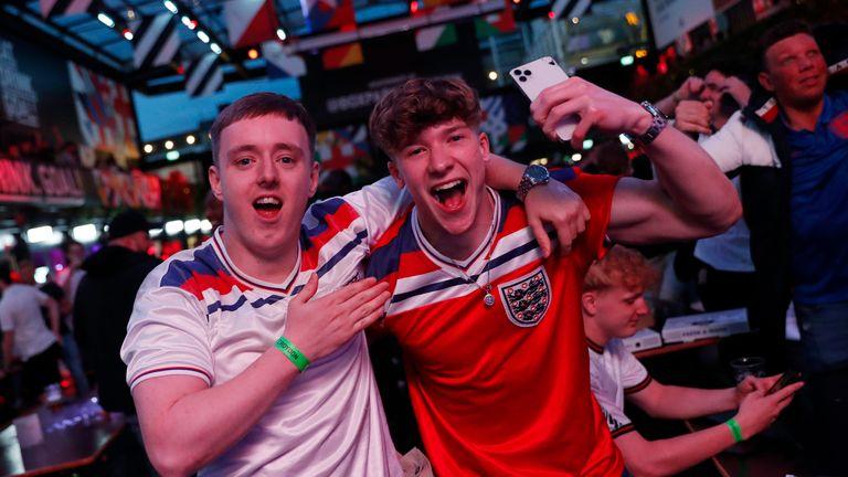 Fans gather for Czech Republic v England - Box Park, Croydon, London
