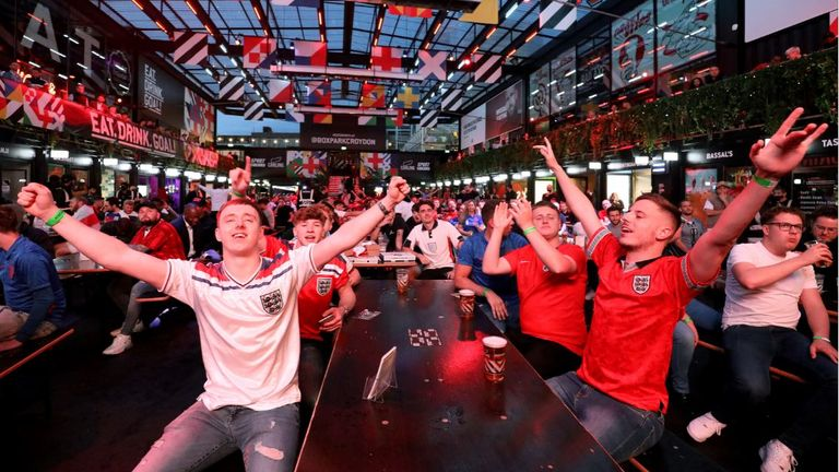 England fans celebrate victory