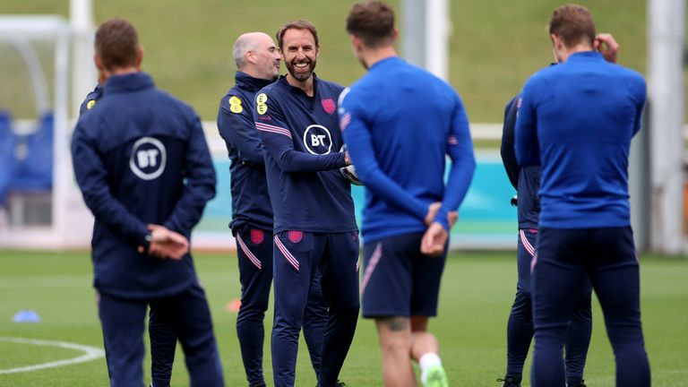 Southgate with his players during training ahead of Tuesday's clash with Germany