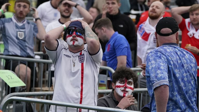 England fans were anguished as Southgate's men missed chances during the tie