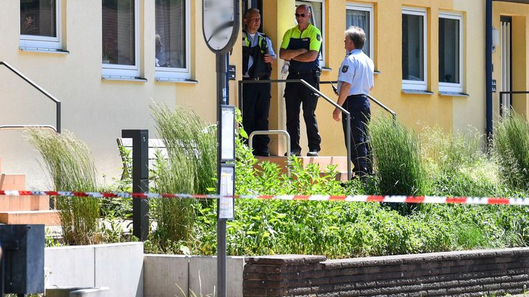Police officers in Espelkamp. Pic: Lino Mirgeler/picture-alliance/dpa/AP