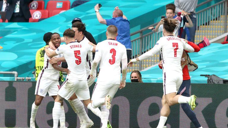 Raheem Sterling got his third goal of Euro 2020, putting England ahead