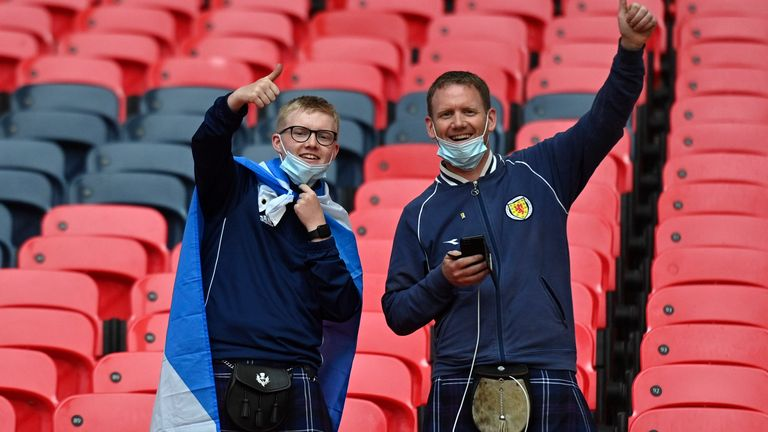 Scotland supporters before their team's match with England at Wembley stadium