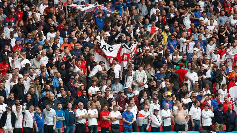 Soccer Football - Euro 2020 - Round of 16 - England v Germany - Wembley Stadium, London, Britain - June 29, 2021 England fans in the stands before the match Pool via REUTERS/Matthew Childs