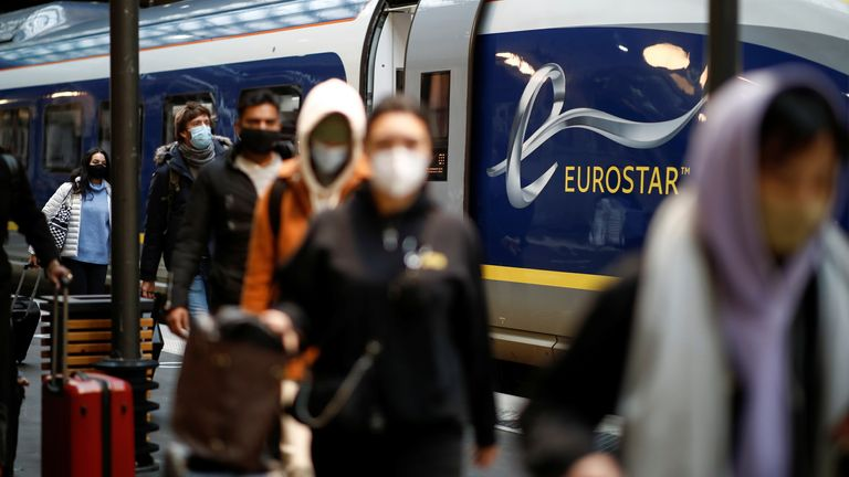 Passengers arrive at the Eurostar terminal at Gare du Nord train station