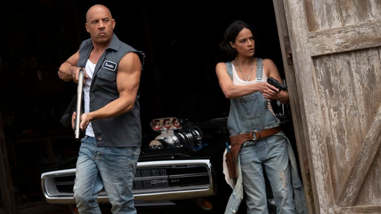 (from left) Dom (Vin Diesel) and Letty (Michelle Rodriguez) in F9, co-written and directed by Justin Lin. Pic: AP