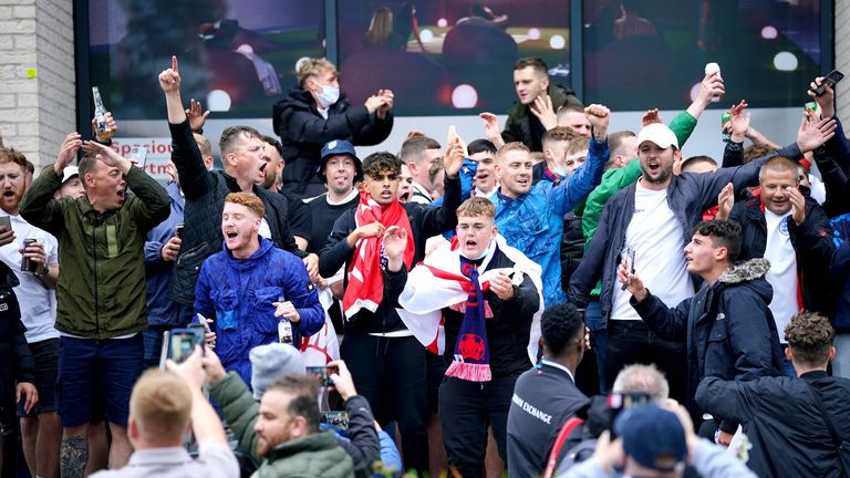 Fans outside of Wembley Stadium ahead of the UEFA Euro 2020 Group D match between England and Scotland. Picture date: Friday June 18, 2021.