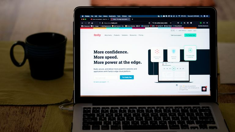 The Fastly home page is seen on Tuesday, June 8, 2021, in Los Angeles. Dozens of websites briefly went offline around the globe Tuesday, including CNN, The New York Times and Britain's government home page, after an outage at the cloud service Fastly. The incident illustrates how vital a small number of behind-the-scenes companies have become to running the internet. (AP Photo/Marcio Jose Sanchez)