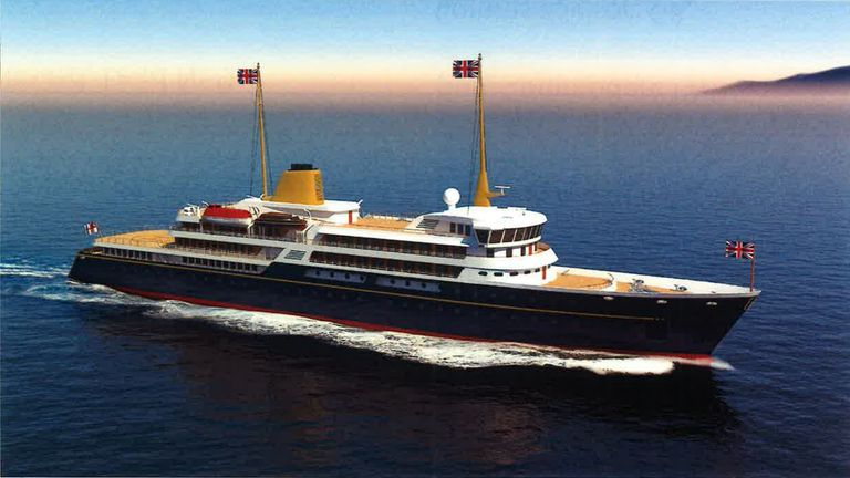Handout image issued by 10 Downing Street showing an artist's impression of a new national flagship, the successor to the Royal Yacht Britannia, which Prime Minister Boris Johnson has said will promote British trade and industry around the world. Issue date: Sunday May 30, 2021.
