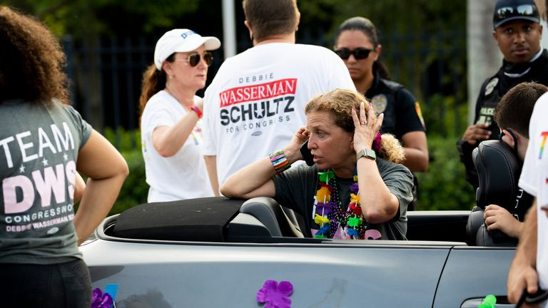 """Congresswoman Debbie Wasserman Schultz was at the parade and said she is safe but """"shaken"""" by the crash. Pic AP"""
