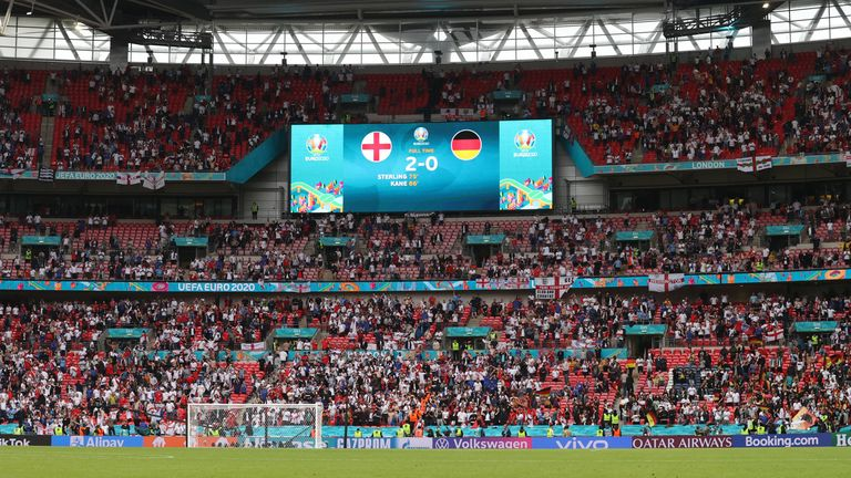 Soccer Football - Euro 2020 - Round of 16 - England v Germany - Wembley Stadium, London, Britain - June 29, 2021 General view inside the stadium after the match Pool via REUTERS/Catherine Ivill