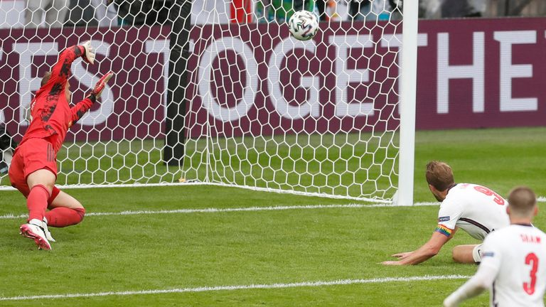 Soccer Football - Euro 2020 - Round of 16 - England v Germany - Wembley Stadium, London, Britain - June 29, 2021 England's Harry Kane scores their second goal Pool via REUTERS/Matthew Childs