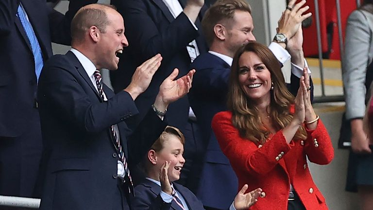 Prince William, Kate, and Prince George celebrate Sterling's goal. Pic: Christian Charisius/picture-alliance/dpa/AP