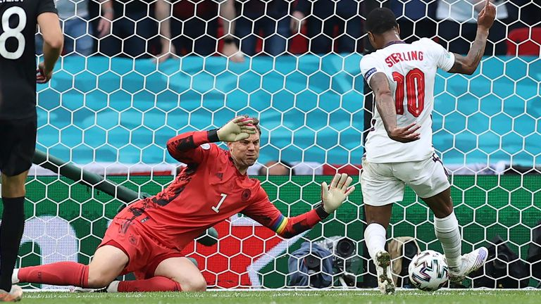 Raheem Sterling scores England's first goal. Pic: Christian Charisius/picture-alliance/dpa/AP