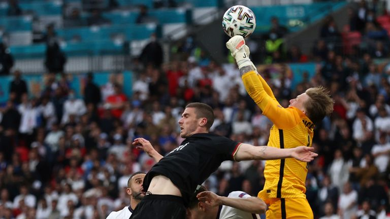 England goalkeeper Jordan Pickford in action. Pic: Christian Charisius/picture-alliance/dpa/AP