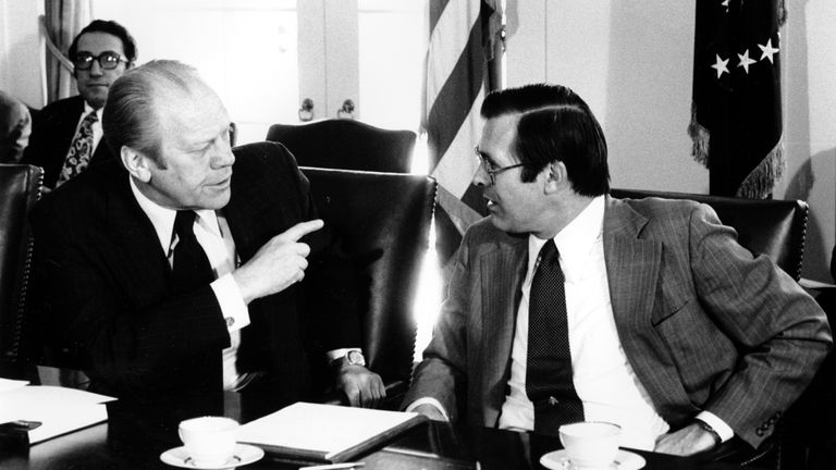 President Gerald Ford confers with his Defense Secretary Donald Rumsfeld in 1976. Pic: AP