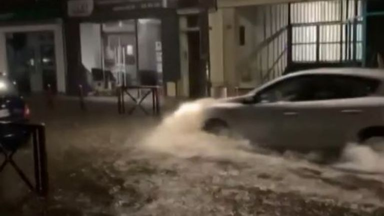 Street is flooded in France during storm