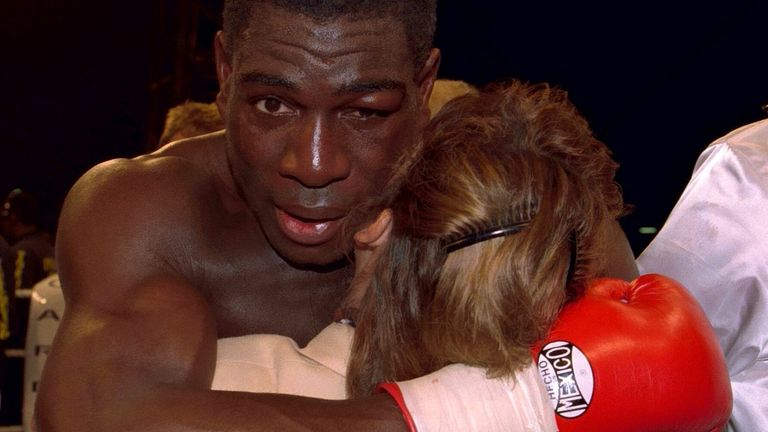 Frank Bruno hug his wife Laura Bruno after defeat Mandatory Credit:Action Images / David Jacobs