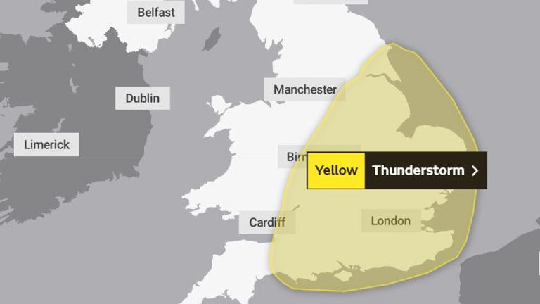 The Met Office warning for Friday and Saturday is confined more to eastern and south-eastern parts. Pic: Met Office