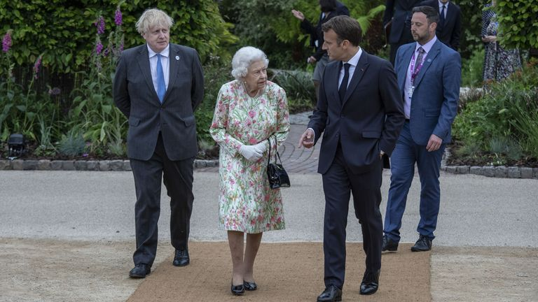 The Queen talks to French President Emmanuel Macron