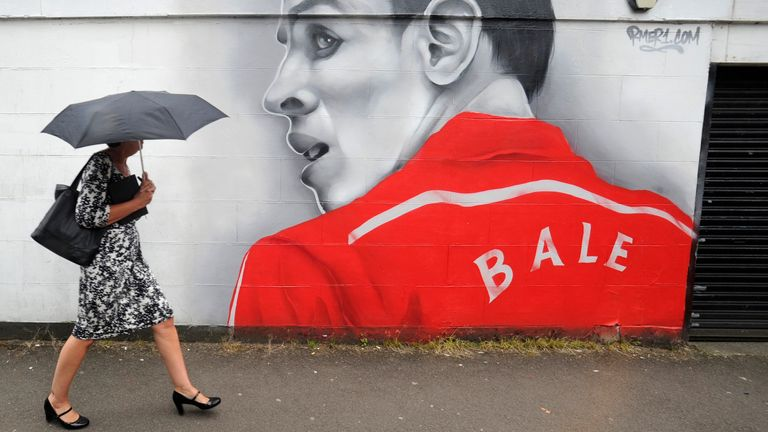 A mural with an image of Gareth Bale on the side of the Hearing & Mobility shop in Whitchurch, the suburb that Bale went to school in Cardiff