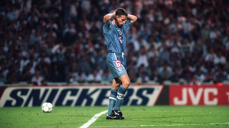 Gareth Southgate's penalty miss saw England crash out of Euro 96