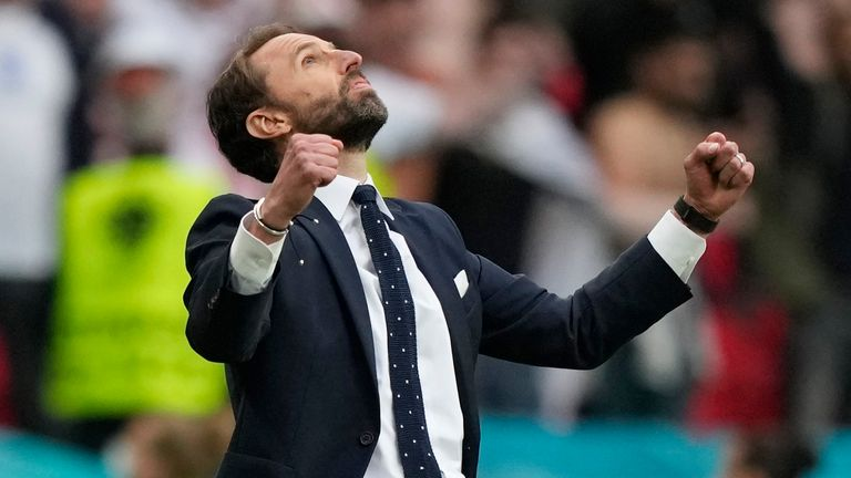 Soccer Football - Euro 2020 - Round of 16 - England v Germany - Wembley Stadium, London, Britain - June 29, 2021 England's Gareth Southgate celebrates at the end of the match Pool via REUTERS/Frank Augstein