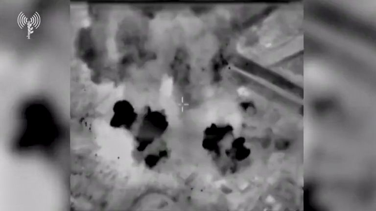 A still image from a video shows buildings in Gaza as seen from a warplane after an airstrike