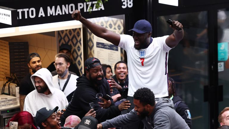 Stormzy, who was watching from Box Park in Wembley, celebrates England's win against Germany