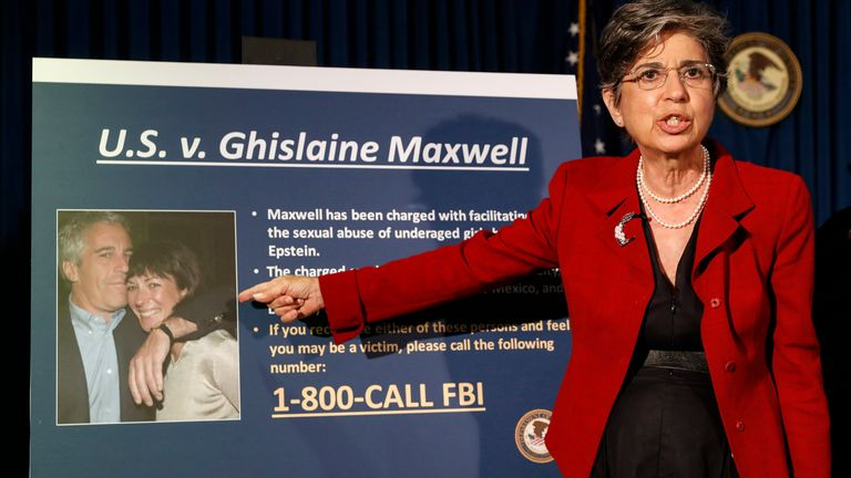 Acting US Attorney for the Southern District of New York Audrey Strauss gave details of the charges against Maxwell in a news conference following her arrest. Pic: AP