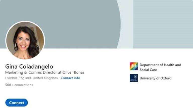 Gina Coladangelo's LinkedIn page