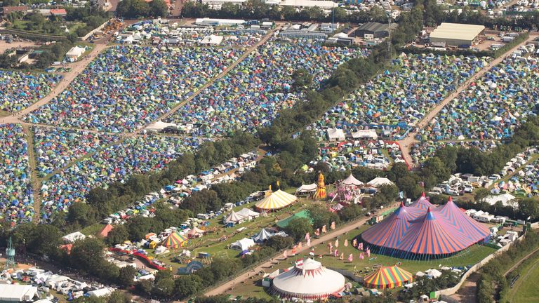 Aerial view of tents at the Glastonbury Festival at Worthy Farm, Somerset, in June 2019