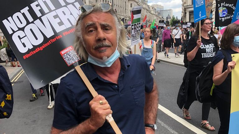 Sex Pistols' Glen Matlock at the central London protests