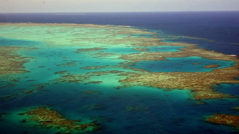 Landscape of the Great Barrier Reef in the Coral Sea off the coast of Queensland, Australia, 2018. Pic: AP