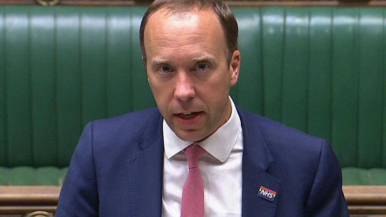 Matt Hancock addresses MPs in the Commons