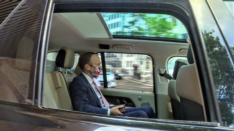 The health secretary replied 'I don't think so' as he was driven off.