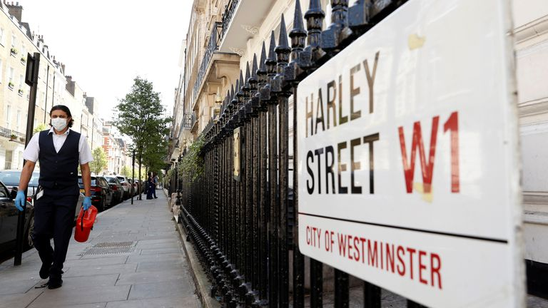 Harley Street, in central London, is known for hosting prestigious cosmetic surgeons. Pic: REUTERS/John Sibley