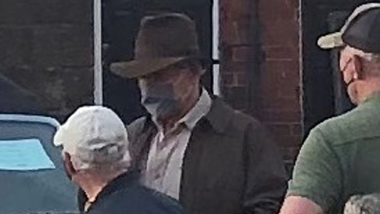 Handout photo issued by North Yorkshire County Council of Harrison Ford spotted on location in Grosmont village, North Yorkshire. Issue date: Wednesday June 9, 2021.
