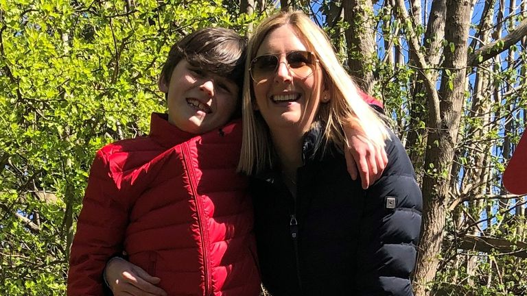 Handout photo issued by North Yorkshire County Council of Vicki Levan with Evan in Grosmont. Harrison Ford told the young fan he is Indiana Jones's stunt double when the star was spotted on location in North Yorkshire. Issue date: Wednesday June 9, 2021.