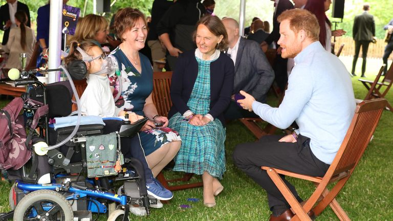 The Duke of Sussex speaks to Outstanding Professional Award winner Anna Marie McLachlan