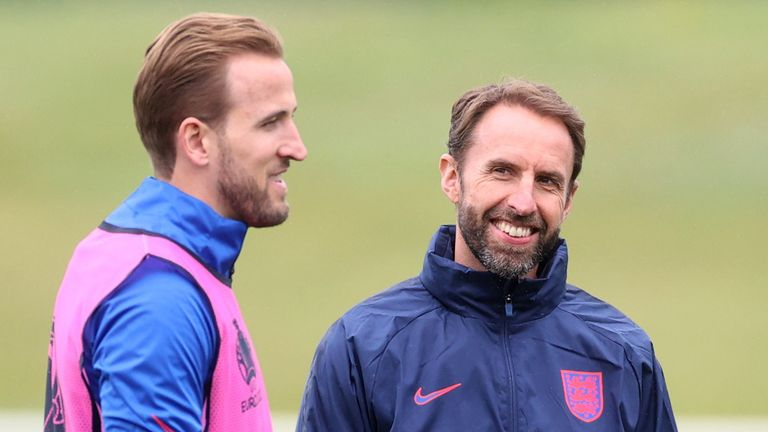 Harry Kane and Gareth Southgate pictured during a training session before England's match with Germany